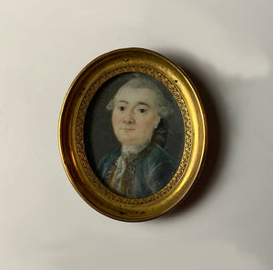 Tiny c.1750s Antique French Portrait Miniature, Gentleman, Georgian Era