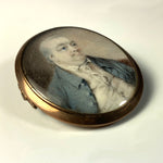 Antique French Portrait Miniature, Hair Art Memento Brooch, Pendant c.1770s, 12k Gold