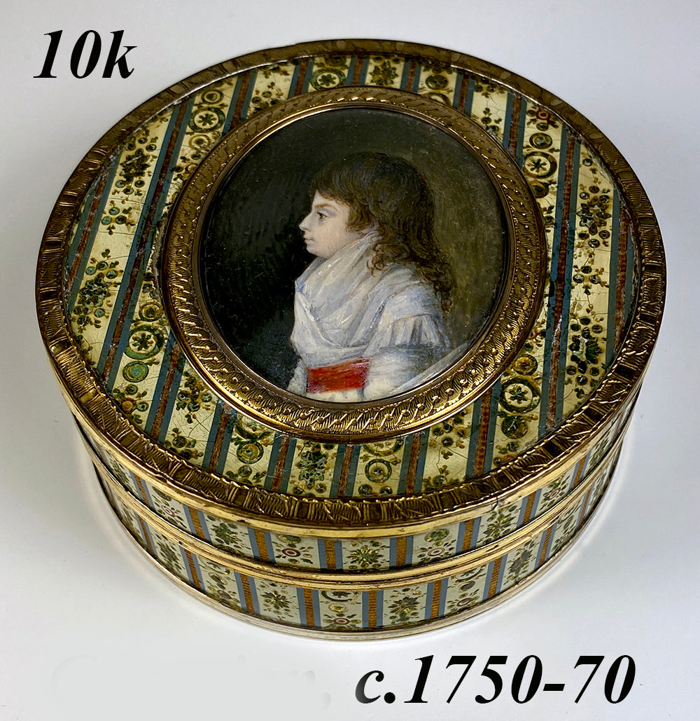Rare Antique c.1700s French 18k, 10k Gold and Vernis Martin Snuff Box, Portrait Miniature of a Child, c.1770s