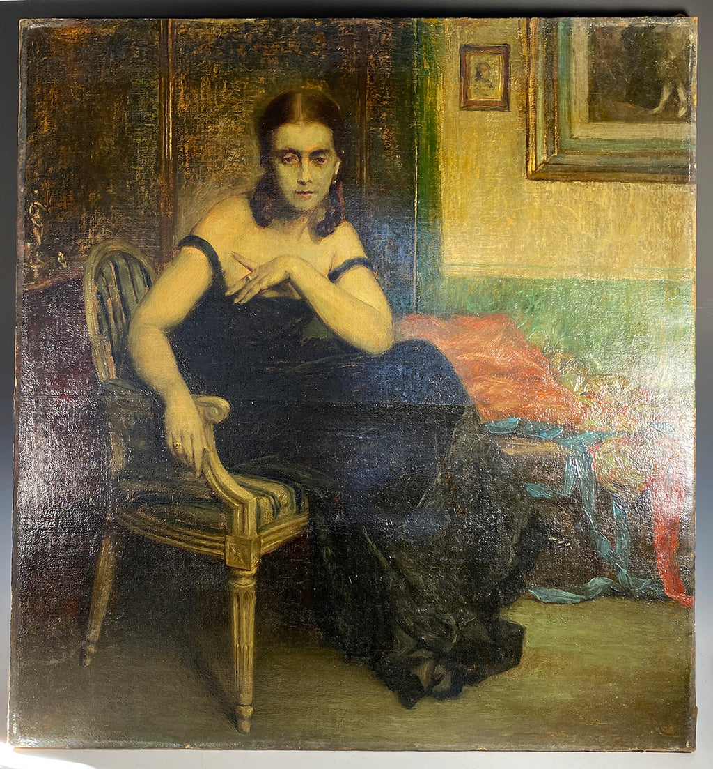 Stunning Antique French Impressionist Portrait, Oil Painting of a Woman, Interior