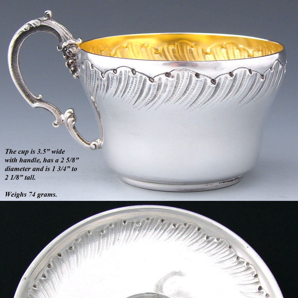 Antique French Sterling Silver Coffee or Tea Cup & Saucer, Louis XV or Rococo Style Decoration