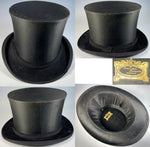 Antique Leather Top Hat Box, Luggage, French Silk Top Hat Inside. Collar Box