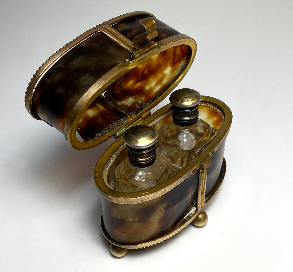 Petit French Antique Scent Caddy, 2 Perfume Bottles in Tortoise Shell Box, Casket