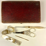 Antique French Palais Royal Mother of Pearl 18k Gold Sewing Set, Etui, c.1780s