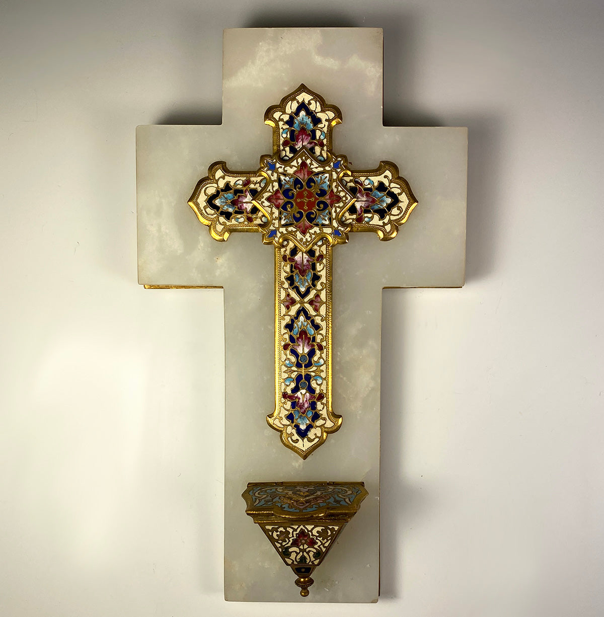 Antique French Champleve Enamel, Bronze, Alabaster Crucifix and Holy Font, 10.5