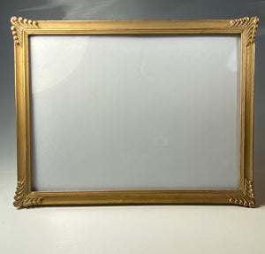 "Antique French 8.5"" x 6.5"" Horizontal Format Frame, Carved Wood, Gilded"