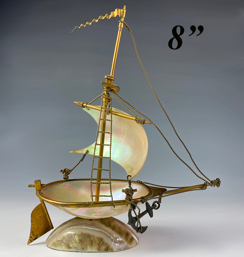 "Antique French Grand Tour Souvenir, Mother of Pearl 8"" Tall Sail Boat, Anchor, Pocket Watch Holder"