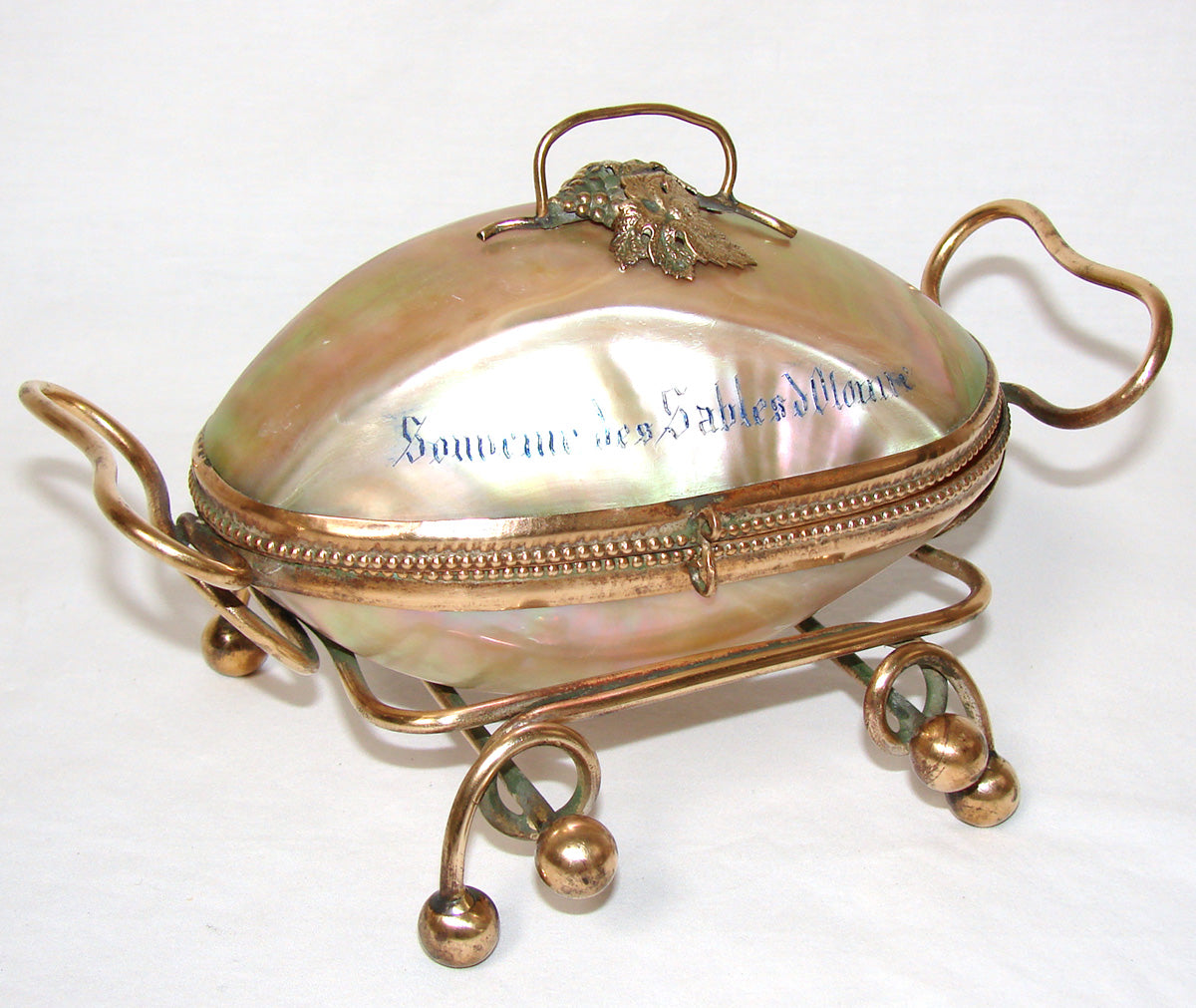 Large Antique French Napoleon III Era Palais Royal Style Mother of Pearl 'Egg' Casket, Souvenir