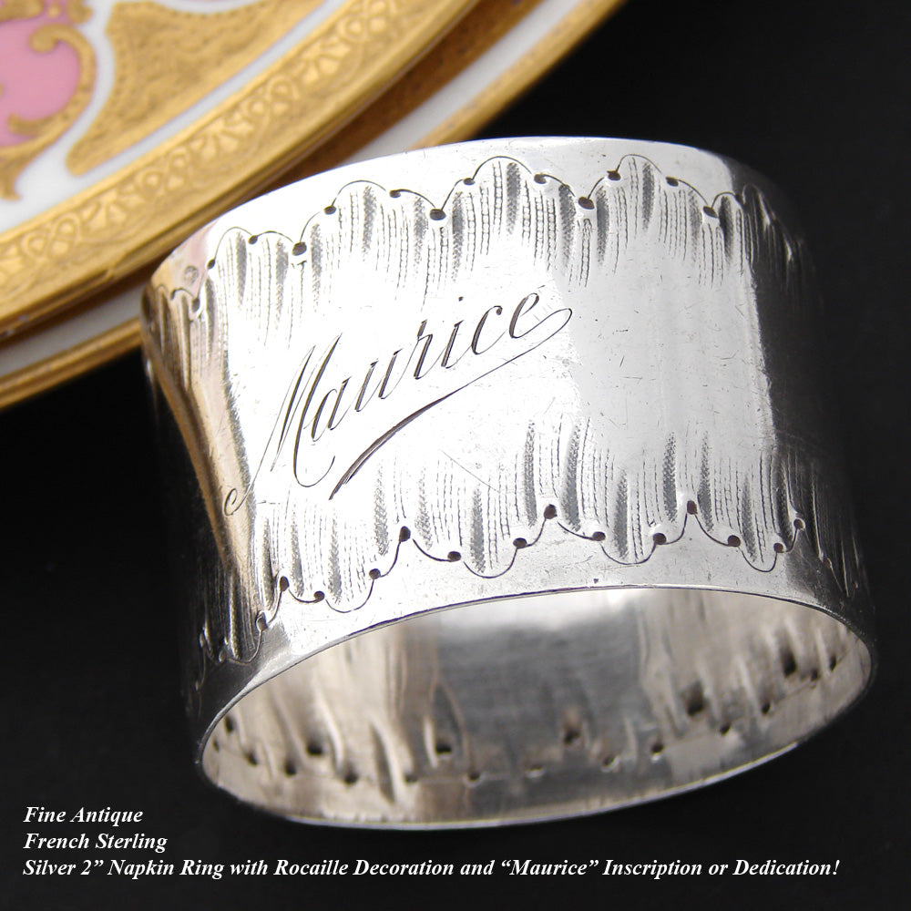 "Antique French Sterling Silver Napkin Ring, Louis XVI or Rococo Pattern, ""Maurice"""