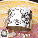 Lovely Antique French Art Nouveau .800 (nearly sterling) Silver Napkin Ring, Floral