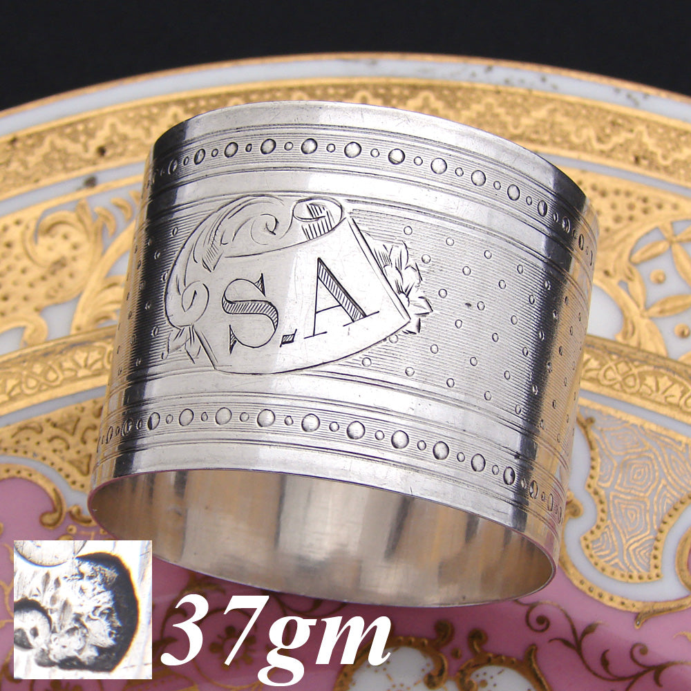 "Antique French .800 (nearly sterling) Silver 2"" Napkin Ring, Guilloche Style with ""S.A."" Monogram"