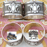 Fab PAIR of Antique French .800 (nearly sterling) Silver Napkin Rings, Ornate Wire Mesh