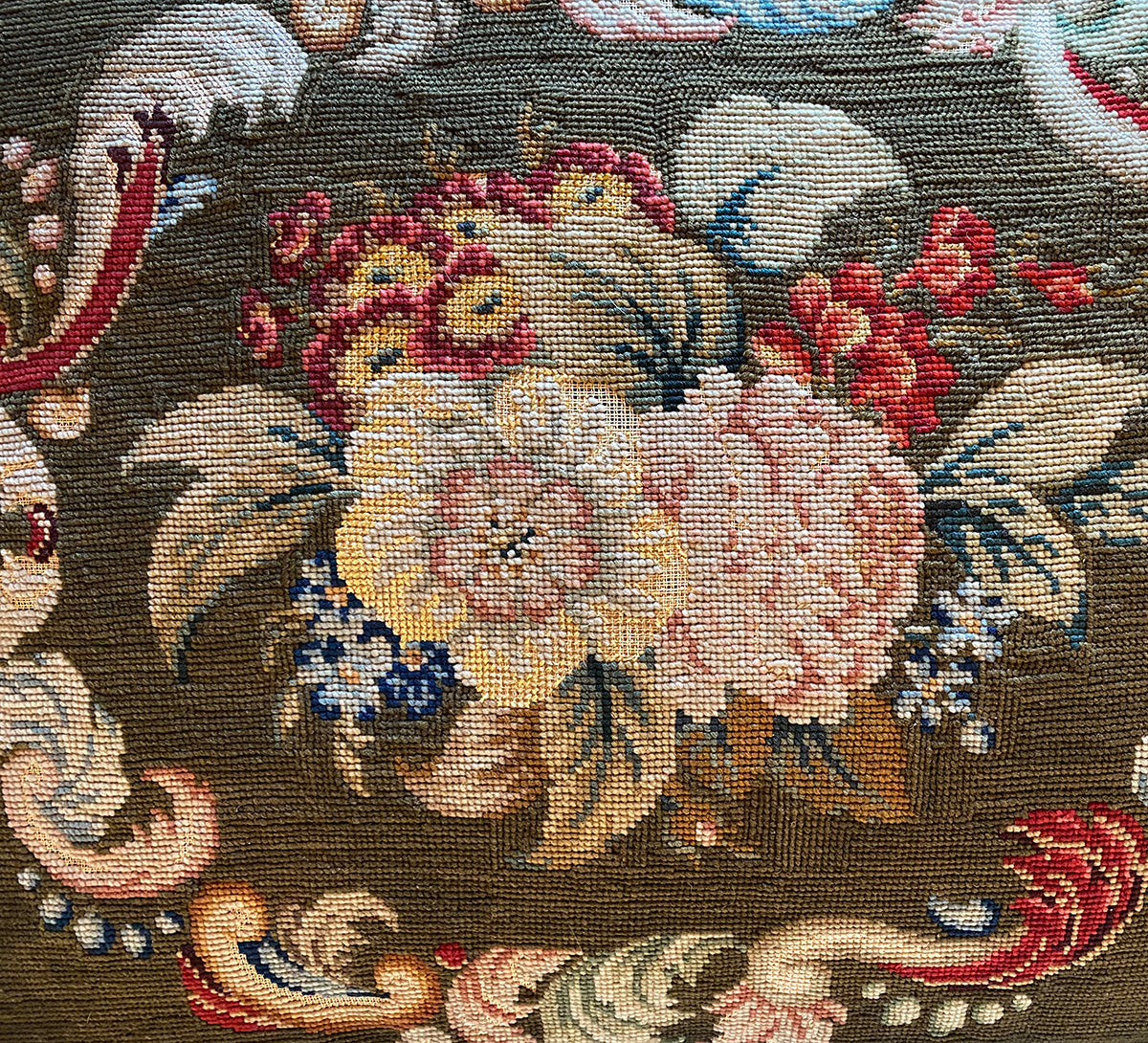"Antique Victorian Needlepoint Panel made into 21"" x 16.5"" Velvet Pillow, Down-Filled, Lush Fringe"