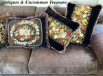 "Pair (2) Antique Victorian Needlepoint Panel made into 23"" x 18"" Velvet Pillow, Down-Filled, Lush Fringe"