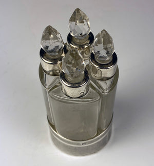 Antique French Sterling Silver 4-Bottle Scent Caddy, No Damage At All