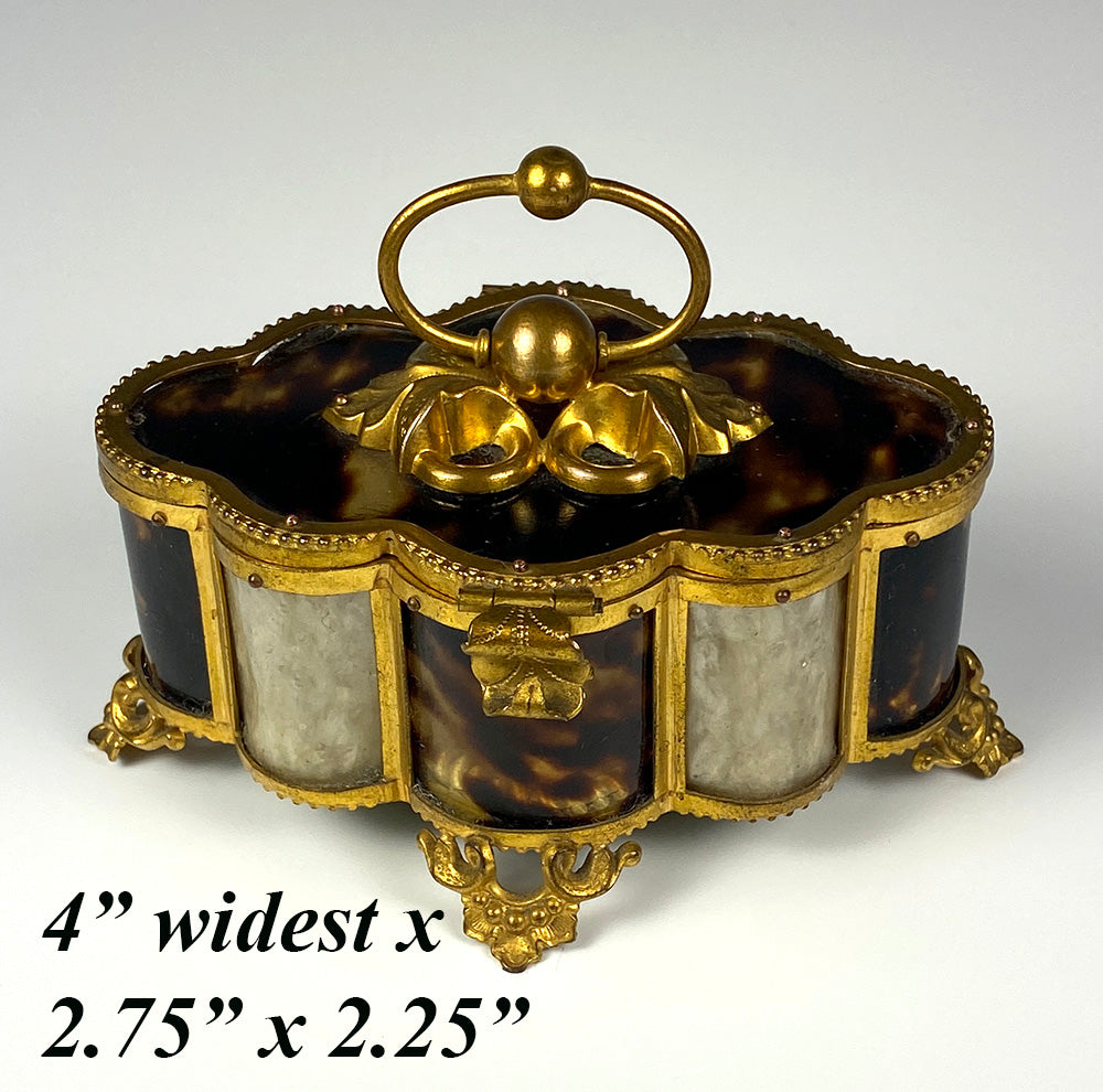 Antique French Palais Royal Trinket or Jewelry Box, Tortoise Shell & Ormolu