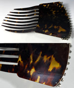 Elegant French Tortoise Shell Tiara, Hair Comb, 18k Gold and French Paste Gems