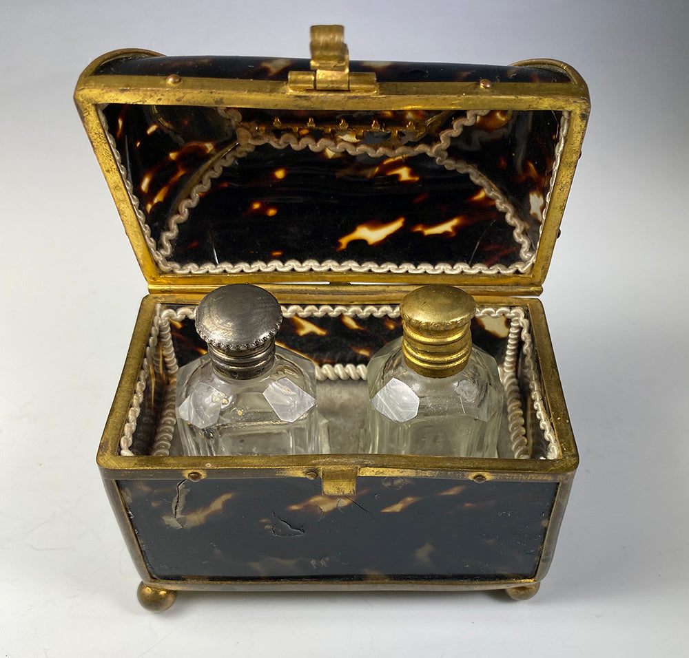 Antique French Tortoise Shell & Ormolu 2 Bottle Scent Caddy, Perfume Flasks