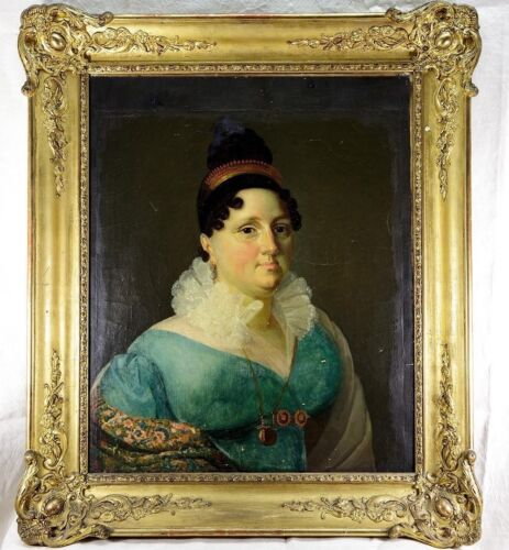 "RARE Antique Museum Quality French ID'd Portrait, c.1820, Elaborate 30x26"" Frame"