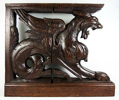 PAIR Carved Wood Griffin Figures, 19th c. Supports for Cabinetry, HUGE and Fun