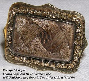 Beautiful Antique French Hair Art Mourning Brooch, 18K Gold Setting