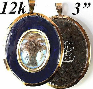 "Antique Georgian Era Hair Mourning Locket, 3""  in 12k Gold Frame"