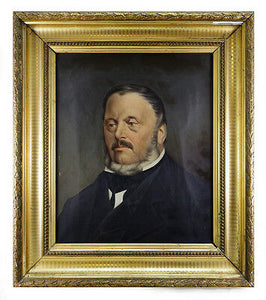 Antique French Oil Painting, Portrait of a Man, Elegant Gesso on Wood Frame