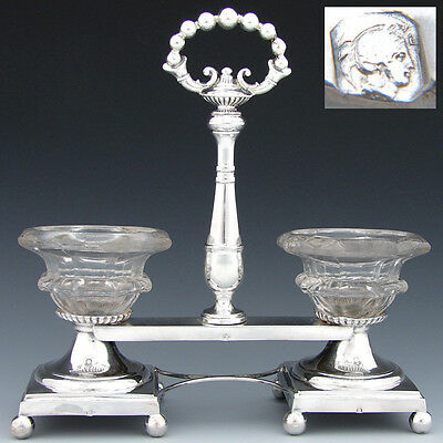 Antique French Sterling Silver Double Open Salt or Sweetmeat Caddy, 1834 - 1847