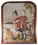HUGE Antique Victorian Needlepoint Tapestry, Fine Walnut Frame, Scottish Kilts