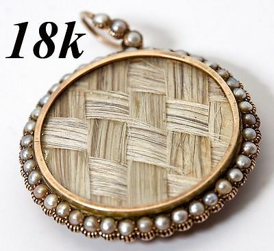 Antique Georgian 18k Gold & Seed Pearl Large Locket Pendant, Hair Art Mourning