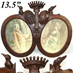 Antique Carved French Armorial Frame: Crown, Dog, Crow & Crest, Signed Portraits