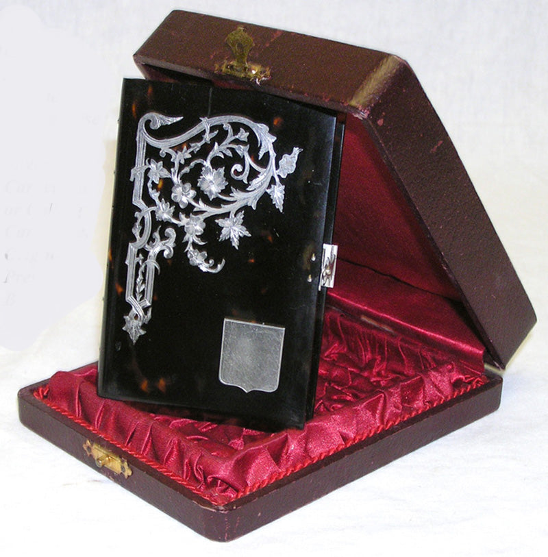 Antique French Tortoise Shell Carnet Bal, Etui with Silver Inlay & Original Presentation Box