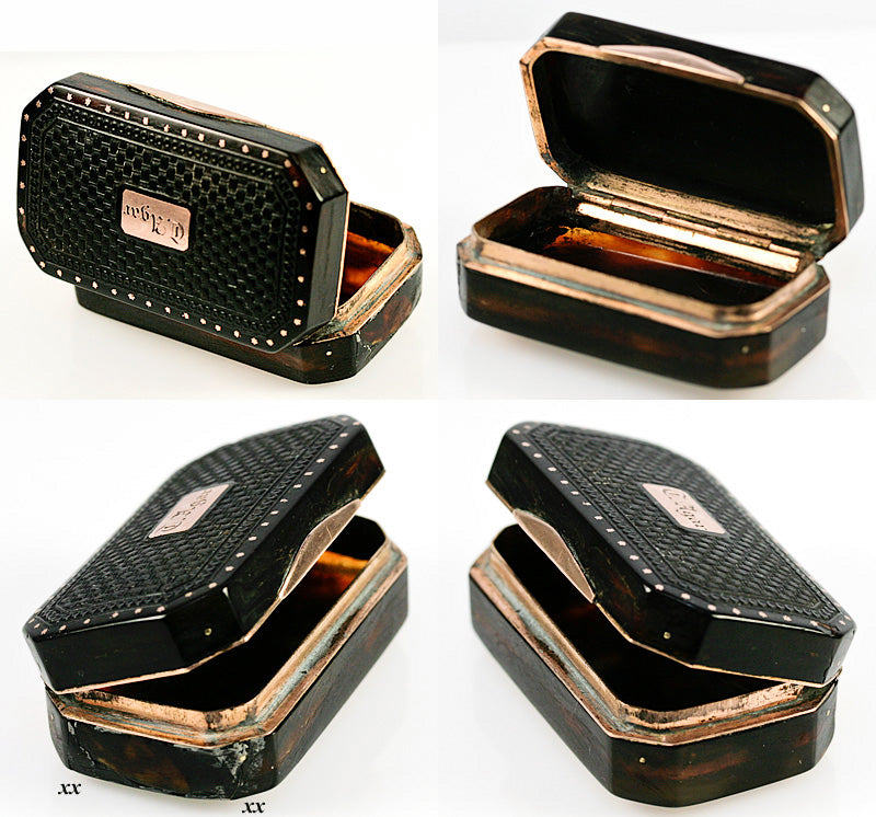 Antique French Louis XVI to Napoleonic Era, (c.1770-30) Tortoise Shell & 18K Gold Snuff Box, French - Tortoiseshell