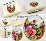 Antique French Coin Purse, Ivory and Silk, Kiln-fired Enamel Plaque Miniature Painting
