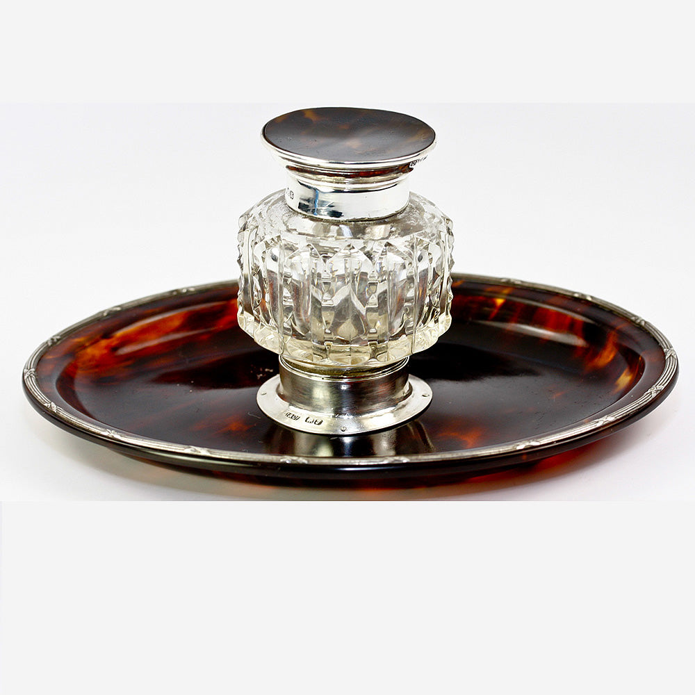 Antique English Sterling Silver and Tortoise Shell Inkwell, Ink Well & Pen Stand