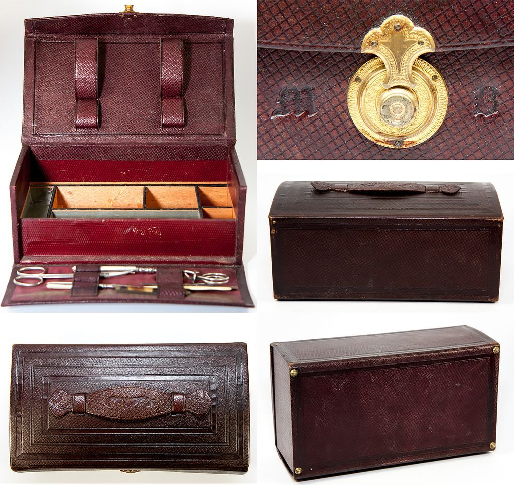 Antique French Early 19th C. Leather Grand Tour Traveler's Vanity Set, Necessaire, Incomplete