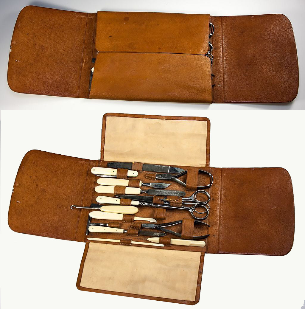 Antique French Ostrich Leather Folding Vanity Case with 15 Implements, One Marked Louis Vuitton