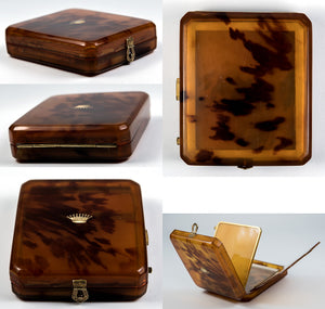 Superb Antique French Minaudière, Compact, 18k Crown Monogram in Blond Tortoise Shell, Tortoiseshell