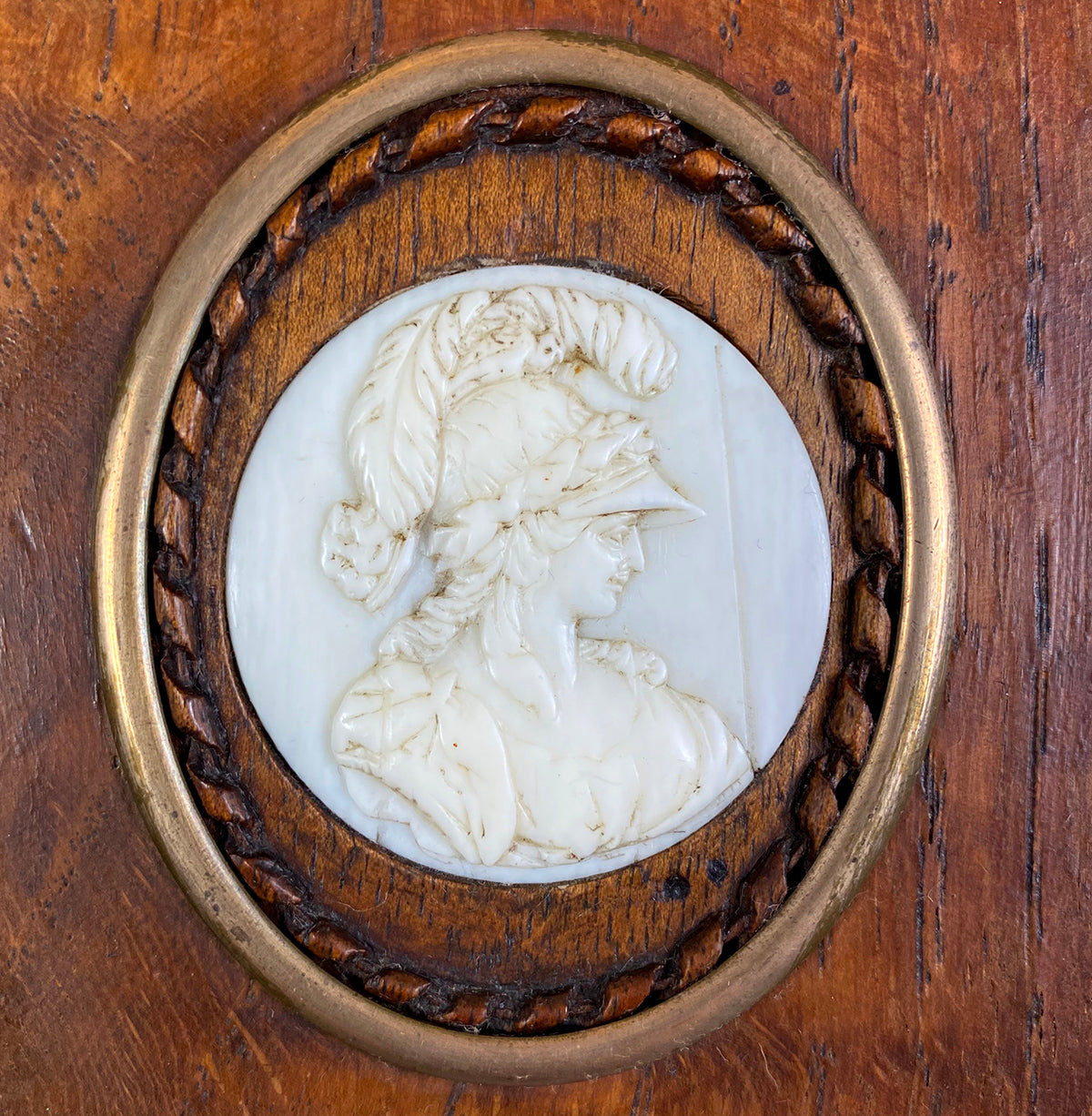 Antique Hand Carved Dieppe, France Profile Medallion of Minerve, Miniature in Frame