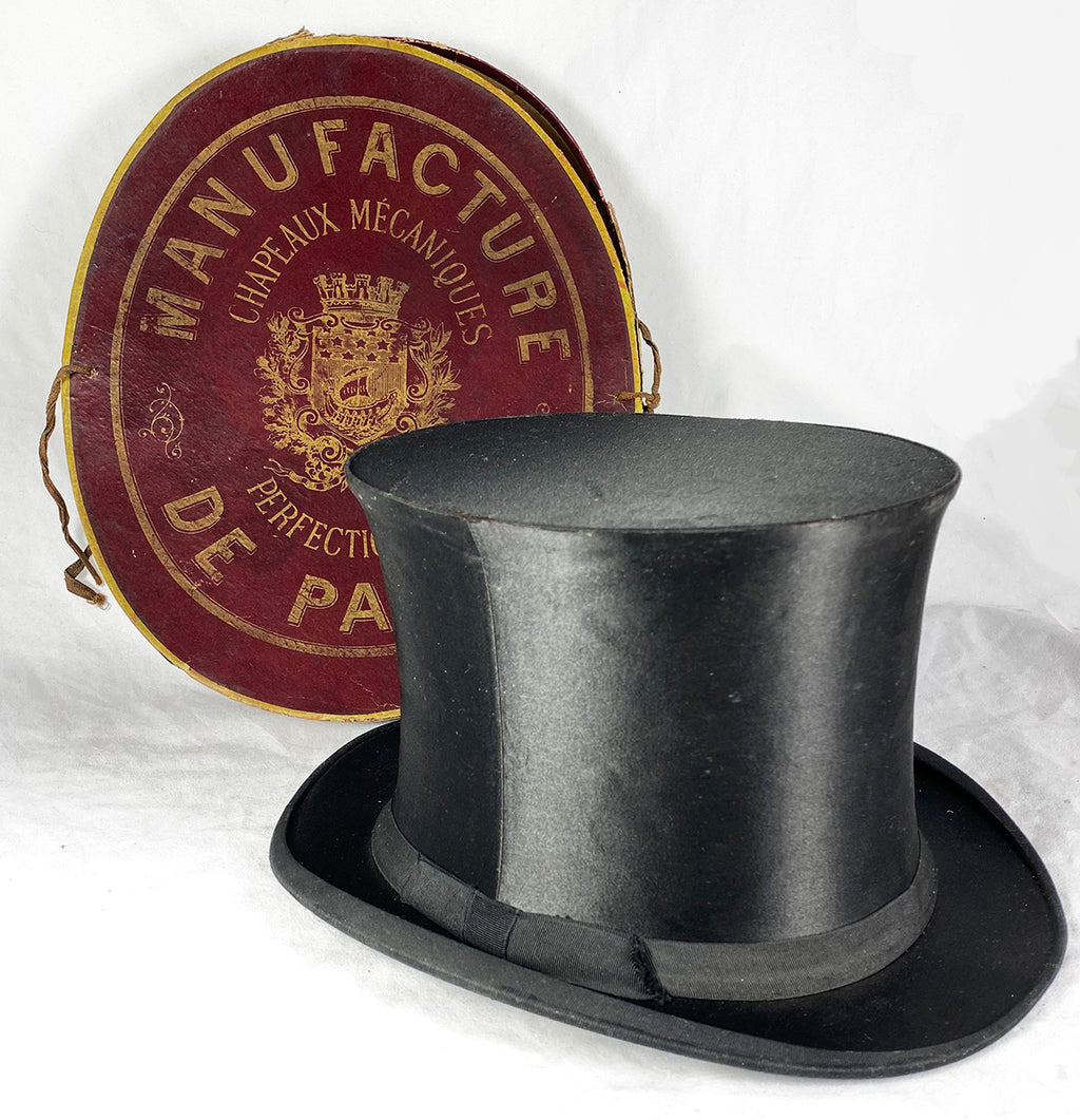 Antique French Silk Top Hat in Original Travel Case, Quite Excellent Folding Style, c.1850s
