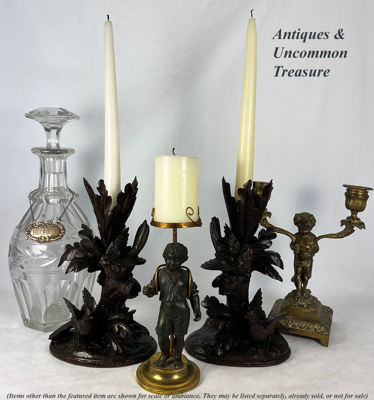 Pair, Antique Hand carved Black Forest Candle Holder or Epergne Stands (2), 4 Birds, Sparrow
