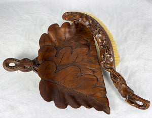 Antique HC Black Forest Crumb Tray and Brush, Oak Leaves and Acorns, Boar Bristle, c.1880s