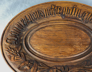"Antique Hand Carved Swiss Black Forest Bread Tray, 11 1/4"" x 8"" Oval"