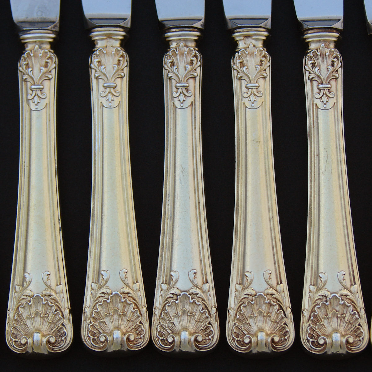 Antique French 18k Gold on Sterling Silver Vermeil 18pc Dessert Knife Set, Seashells
