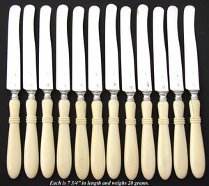 Elegant Antique French Sterling Silver & Carved Ivory 12pc Dessert Knife Set