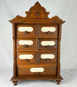 "Antique French Oak Spice Cabinet or Chest of Drawers for Bru Dolls, 14.5"" Tall, Bone Cachet"