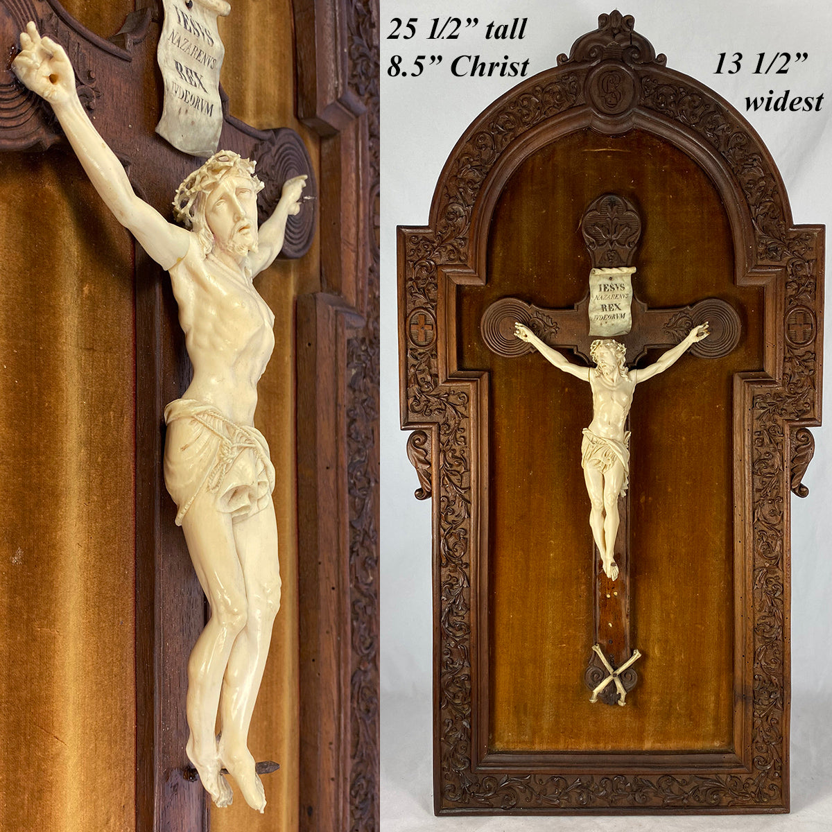RARE c.1700s Dieppe H Carved Ivory Christ on Crucifix, Frame dates c.1855