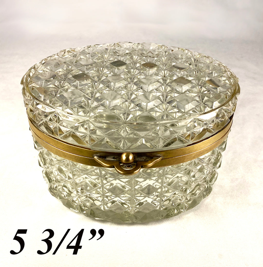 "Antique French Cut Crystal Sugar Casket, Jewelry Box, Brilliant, 5.75"" x 4.75"" Oval"