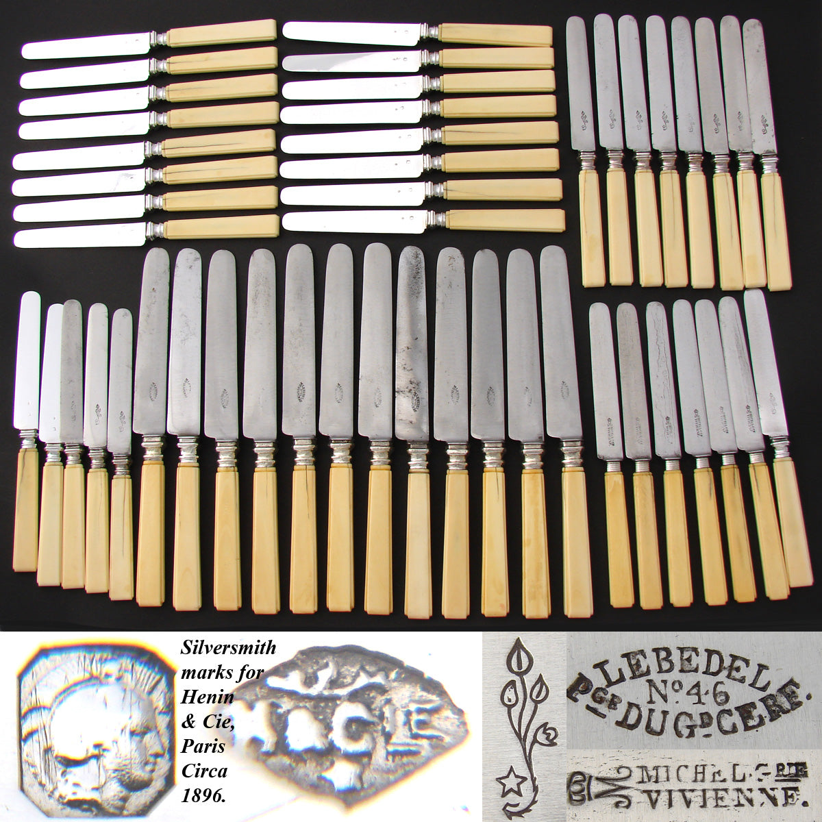 Elegant Antique French 48pc Table Knife Set, 3pc Setting for Twelve +, Carved Ivory & Sterling Handles