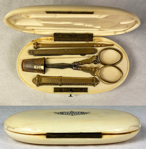 Antique French Sewing Etui, Ivory Case, .800/1000 Silver 18k Gold Vermeil Tools +